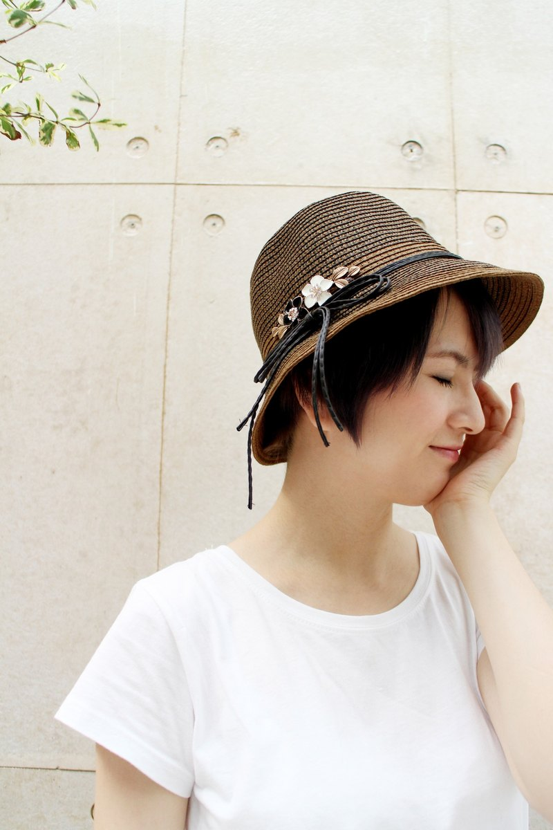 MR.STORE dark brown broad-brimmed hat with butterfly knot