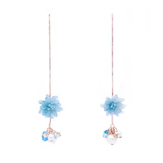 Pamycarie ZINNIA Aqua Rosegold-plated 925 Silver Ear Chains Blue/White