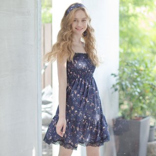 No steel ring home service [exclusive 2in1] flower flying dance skin wrinkle mesh short dress - blue flower