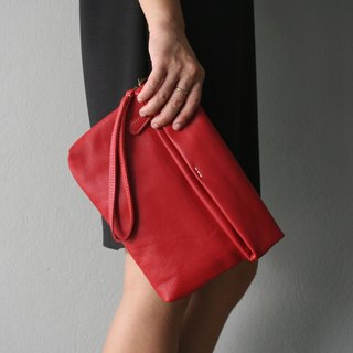 Folding Wristlet Clutch Bag / Red Clutch Purse.