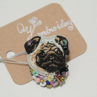 Qy' s dogs hand embroidered brooch pin gift