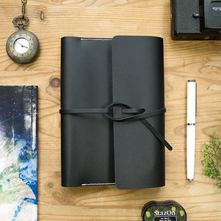 handmade black genuine leather book cover with blank notebook inside