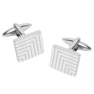Stainless Steel Engraved Lines Cufflinks