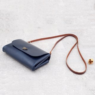 Be Two ∣ Double Side Backpack / Deep Blue / You Design / Leather Shoulder Bag / Sew Bag / Double Layer / Leather Strap