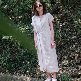 Caleana Asymmetrical Two-Tone Linen Dress