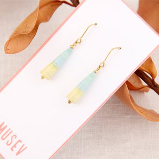 MUSEV yellow and blue beautiful gradient awl earrings