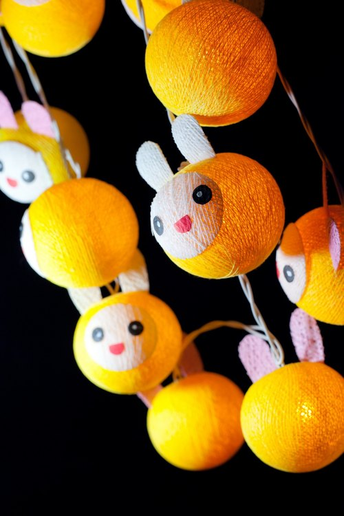 20 Cute Yellow Rabbit - Cotton Ball String Lights for Home Decoration,Party,Bedroom,Patio and Decoration