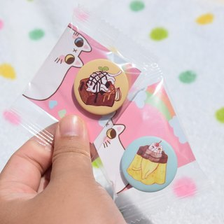 Meat ball super-Meng magnet + pin dual-use badge
