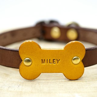 Bone-Name tag Collar - Dark Brown