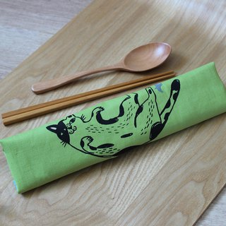 All-in-one cutlery set GoodafternoonworkXPearlCatCat hand-printed cow cat