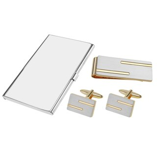 Brushed Silver with Gold Lines Cufflinks Money Clip and Card Holder Set