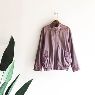 Toyama purple red light fine grain pattern weekend casual girl antique cotton double-sided wearing small stand collar zipper jacket