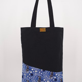 Tote Bag in Cats and Stars on Blue