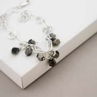 Silver Chain Bracelet w Pyrite Nuggets - Handmade