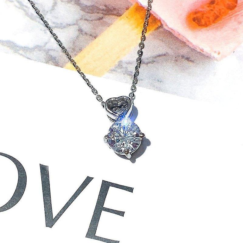 Eli Jewelry氣質簍空小愛心頂級圓鋯石14K白金墜子Pt950鉑金項鍊