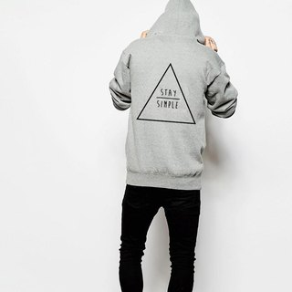 STAY SIMPLE Triangle GRAY Zip hoody sweatshirt
