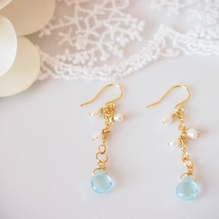 Anniewhere | Sway | Cut Face Crystal Pearl Earrings (can be changed without ear piercing)