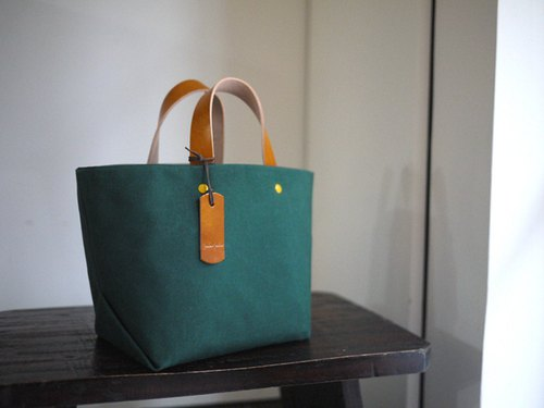 Leather Handle Bag (Small) - Forest Green
