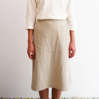 Skirt No. 2 - simple look cotton-hemp blend gray knee-length skirt