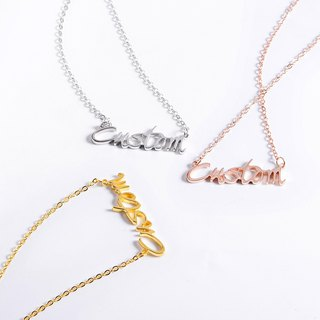[Tricolor Optional] Customized Necklace English Name Necklace 925 Silver Plated Rose Gold Plated 18K Gold Exchange Gift English Alphabet Necklace Mother's Day Gift