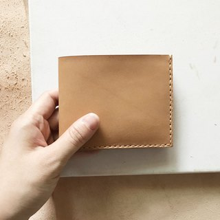 Leather short clip _4 card layer _2 banknote layer _ light brown