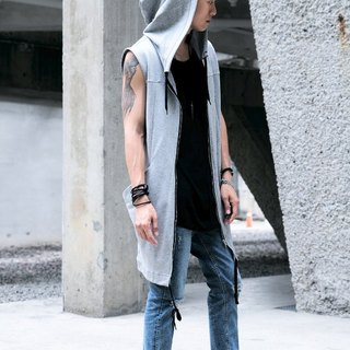 Hooded zipper Long Vest (Grey) # 8659