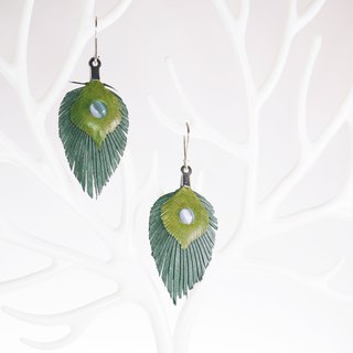 Leather Crave Earring Feather design - Peahen