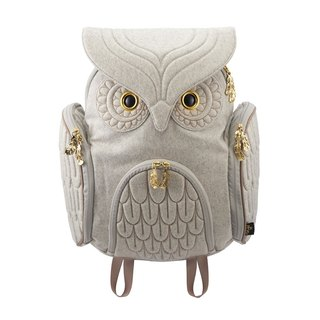 After Morn Creations genuine classic owl backpack number L - light gray (OW-321)