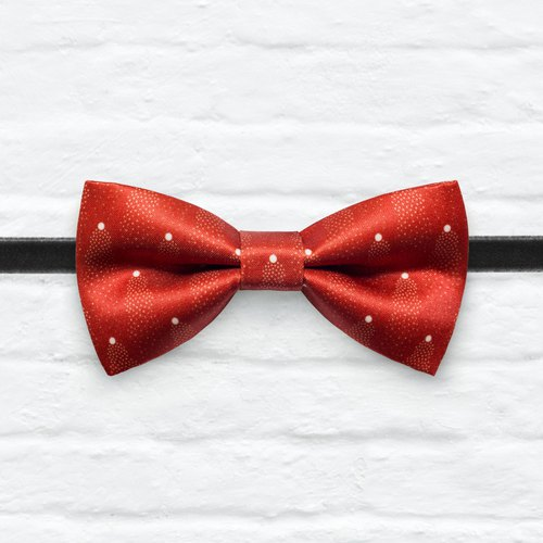 Style 0099 Red Mini Dots pattern Bowtie -  Wedding Bowtie