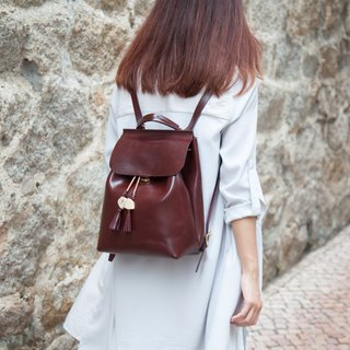 Mini Two-ways Backpack  Leather / Backpack / Reddish Brown / Shoulder Bag /
