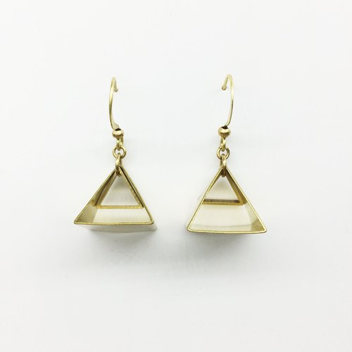 Lao Lin grocery Travelin - my little Louvre brass geometric earrings (can be folder type) ear clip