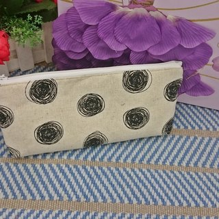 Beige bottom circle circle pencil case cosmetic bag*sk*