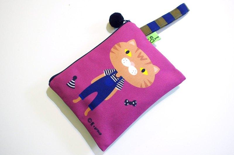 E*group 手提方塊包 橘喵 紫羅蘭  雙面設計  收納包 化妝包