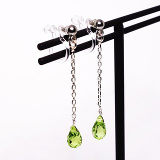 Peridot briolette chain earclips SV925 【Pio by Parakee】橄欖石耳環