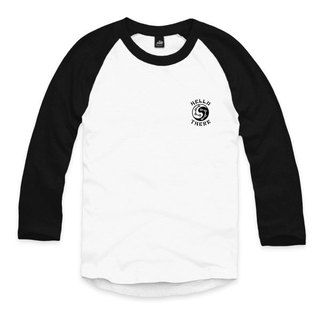 Taiji dolphin - White / Black - Sleeve Baseball T-Shirt