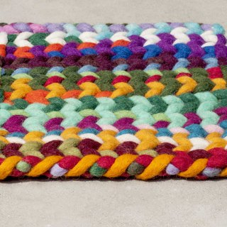 National Wind Forest Felt Pot Pot Rainbow Placemat Potholder - South America Gradient Colorful Stripe Weave