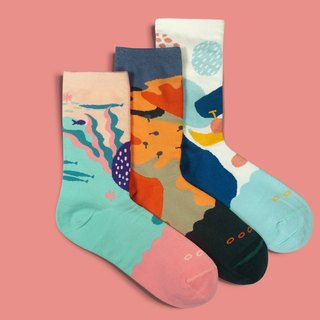 Dear, Buncho Gift Box 3P01 Socks Men's Socks Women's Socks Color Socks Geometric Pattern Designer Socks