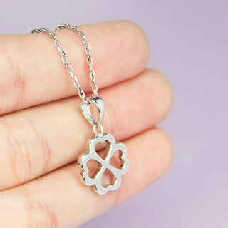 Four Leaf Necklace in 925 with White Gold Plating