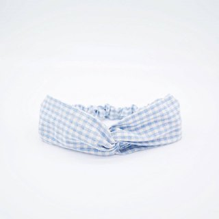 Gege blue blue plaid handmade hair band limited hair band cross hair band