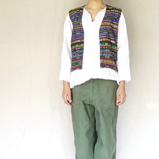 BajuTua / vintage / national wind blue weave vest