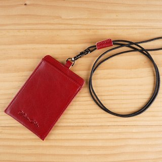 Martin Duke Straight Leather ID Card Holder Dark Red