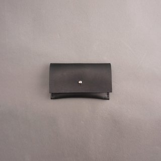 Business card holder leather / black vegetable tanned leather / handmade leather goods