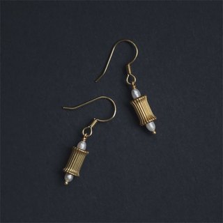 Freshwater white pearl threaded cylindrical brass earrings - can be changed ear clips