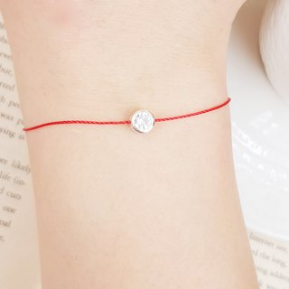 925 sterling silver silver bag diamond double sided back love hollow red line bracelet