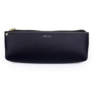 [Saffiano]|Pencil Case L|Zipper Pouch Silver Kraft