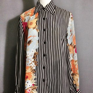 Time ancient [antique shirt / striped flowers chiffon antique shirt] abroad back to VINTAGE