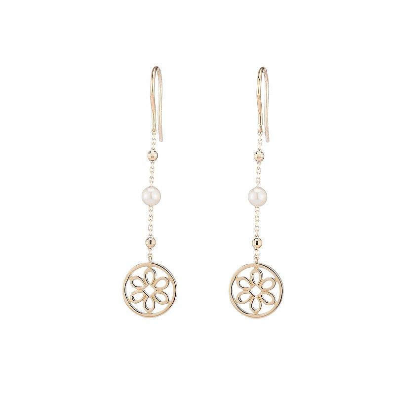 18K金 鏤空の花珍珠耳環