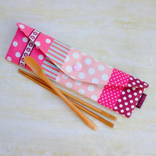 Pink little longer extended environmental protection tableware package chopsticks set straw bag