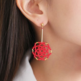 Red - Daisy Flower Drop Earrings