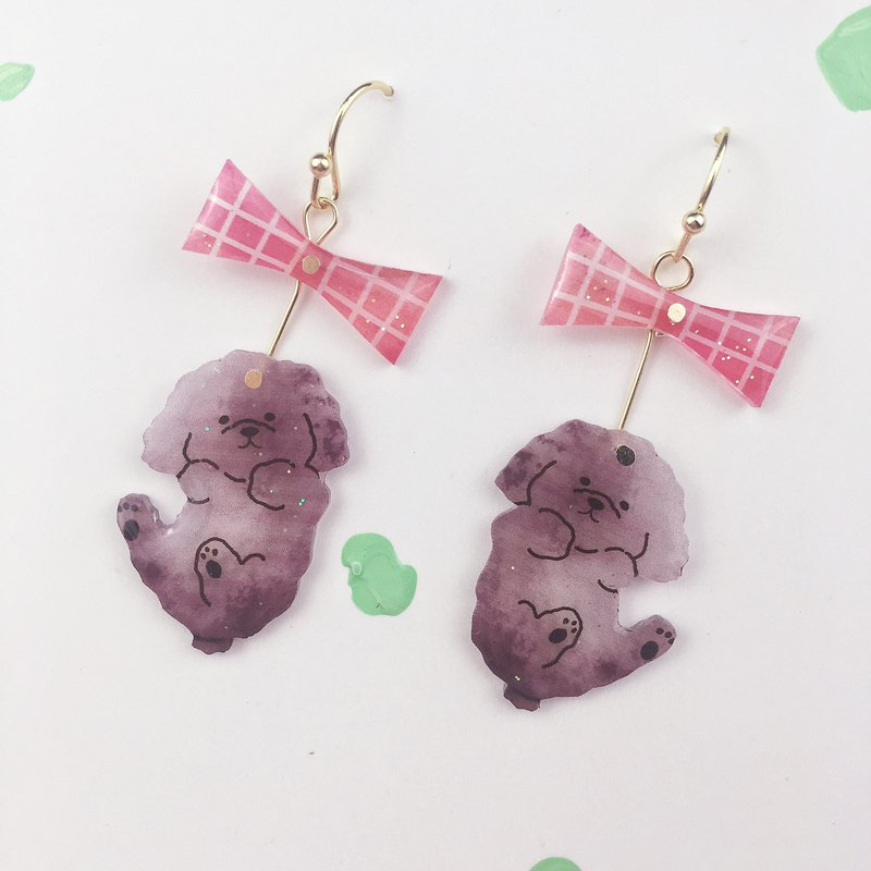 Bow tie curly poodle Earrings pair of ear clip